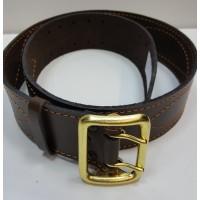Ремень офицерский кожаный коричневый латунная пряжка