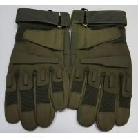 Перчатки из искусственной замши оливкового цвета
