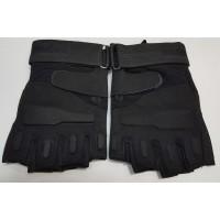 Перчатки из искусственной замши черного цвета короткие пальцы
