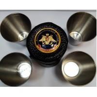 Набор стопок с кожаном чехле с символикой средний Военно Морской Флот