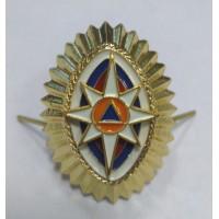 Овал МЧС  с триколором металл золото