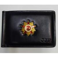Зажим кожаный для денег с жетоном Знак Отечественная война
