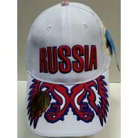 """Кепка - Бейсболка белая с вышивкой """"RUSSIA"""""""