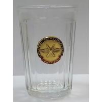 Стакан стеклянный граненный с сувенирным жетоном военно космические силы
