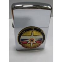 Зажигалка бензиновая с сувенирным жетоном МЧС триколор