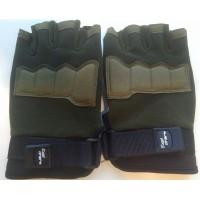 Перчатки из трикотажа оливкового цвета короткие пальцы