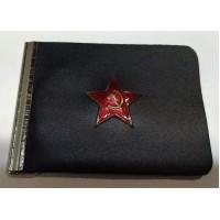 Держатель кожаный для денег простой со значком Красная звезда