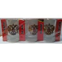 Набор стеклянных стаканов с сувенирным жетоном Двуглавый орел малый