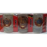 Набор стеклянных стаканов с сувенирным жетоном Герб СССР 3