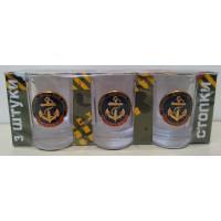 Набор стеклянных стаканов с сувенирным жетоном ВМФ