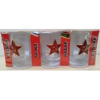 Набор стеклянных стаканов с сувенирным жетоном Звезда СА
