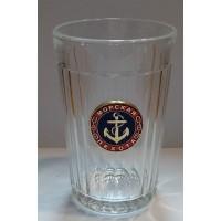 Стакан стеклянный граненный с сувенирным жетоном Морская пехота