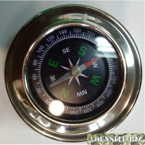 Компас круглый в металлическом корпусе крепкий