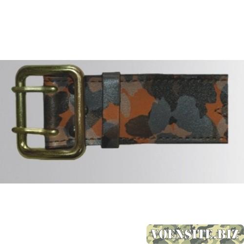 Ремень офицерский кожаный камуфлированный жестяная пряжка