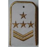 Погоны РЖД белого цвета с вышитыми золотом 4 звезды и 2 лычки