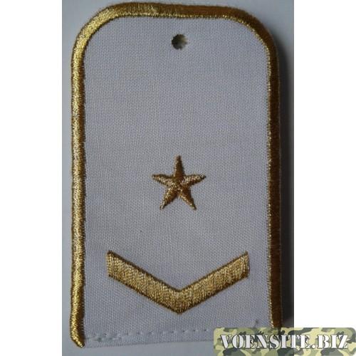 Погоны РЖД белого цвета с вышитыми золотом 1 звездой и 1 лычкой