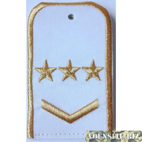 Погоны РЖД белого цвета с вышитыми золотом 3 звезд и 1 лычкой