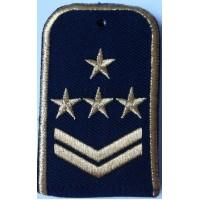 Погоны РЖД синего цвета с вышитыми золотом 4 звездами и 2 лычками