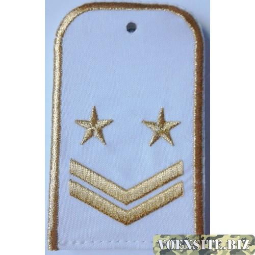 Погоны РЖД белого цвета с вышитыми золотом 2 звездами и 2 лычками