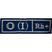 Полоса Группа крови голубая 0 (I) Rh+ вышитая