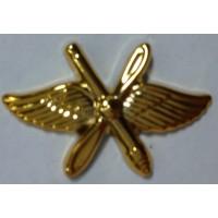 Эмблема петличная ВВС с пушкой золото полиамид