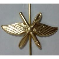 Эмблема петличная ВВС с пушкой золото металл