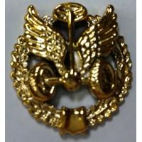 Эмблема петличная Автомобильные войска с венком золото полиамид