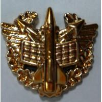 Эмблема петличная ПВО с венком золото полиамид