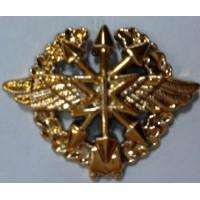 Эмблема петличная Связь с венком золото полиамид