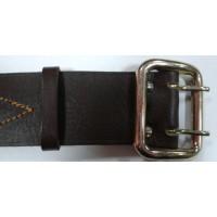 Ремень офицерский кожаный коричневый жестяная пряжка