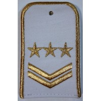 Погоны РЖД белого цвета с вышитыми золотом 3 звезд и 2 лычками