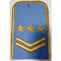 Погоны РЖД голубого цвета с вышитыми золотом 3 звезд и 2 лычками