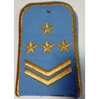 Погоны РЖД голубого цвета с вышитыми золотом 4 звезды и 2 лычки