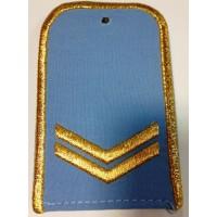 Погоны РЖД голубого цвета с вышитыми золотом 2 лычками