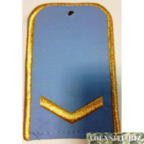 Погоны РЖД голубого цвета с вышитыми золотом 1 лычкой