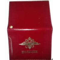 Обложка кожаная для документов красного цвета с надписью Полиция с вкладышем