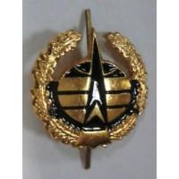 Эмблема петличная Космические войска с венком золото с черным металл