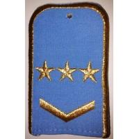 Погоны РЖД голубого цвета с вышитыми золотом 3 звезд и 1 лычкой