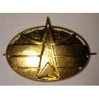 Эмблема петличная Космические войска без венка золото металл
