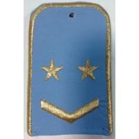 Погоны РЖД голубого цвета с вышитыми золотом 2 звезд и 1 лычкой