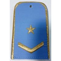 Погоны РЖД голубого цвета с вышитыми золотом 1 звездой и 1 лычкой