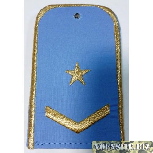 Погоны РЖД голубого цвета с вышитыми золотом 2 звездой и 1 лычкой