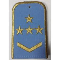 Погоны РЖД голубого цвета с вышитыми золотом 4 звезды и 1 лычкой