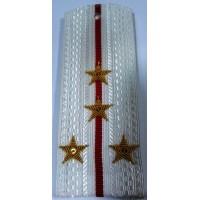 Погоны ВС парадные белые с вышитыми золотом звездами капитан