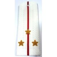 Погоны  ВС парадные белые с вышитыми золотом звездами старший  лейтенант