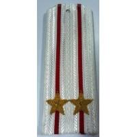 Погоны ВС парадные белые с вышитыми золотом звездами подполковник