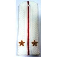 Погоны ВС парадные белые с вышитыми золотом звездами лейтенант