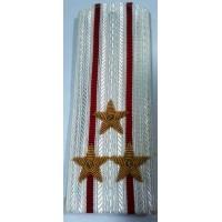 Погоны ВС парадные белые с вышитыми золотом звездами полковник