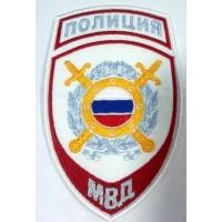 Шеврон Полиция Охрана общественного порядка на рубашку белый вышитый