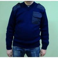 Свитер с накладками синего цвета п/ш